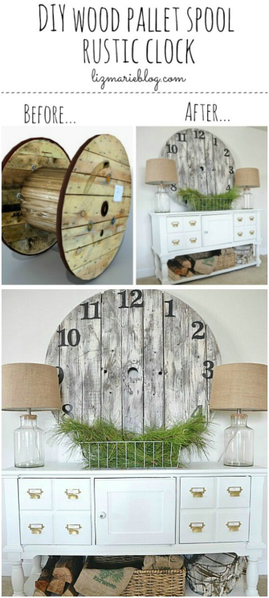 30-wood-pallet-spool-clock-diyncraftscom-farmhouse-furniture-collection-1