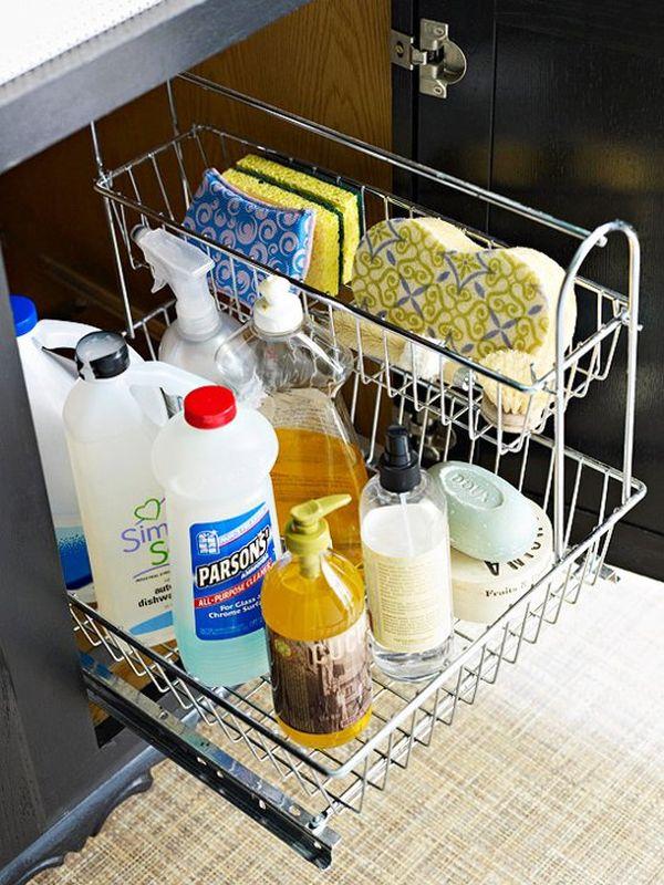 pullout drawer metal baskets under the sink - Under Kitchen Sink Storage Ideas