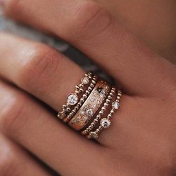 5PcsSet Vintage Bohemian Beads Charm Knuckle Midi Rings